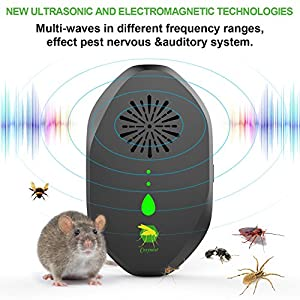 Cosynest Ultrasonic mouse Repellent for Pest Control, 3 in 1 Electronic Mosquito Repeller Plug-in get rid of Mice, Mosquitoes, Roaches, Bugs, Ants, Spiders, Rats, Fleas, Rodents and Insects -Black