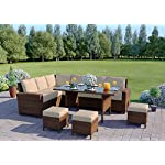 Abreo Rattan Garden Dining Corner Furniture 9 Seater