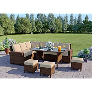 Abreo Rattan Dining Set Furniture Garden Corner 9 Seater INCLUDES PROTECTIVE COVER Black Brown Dark Mixed Grey (Brown With Light Cushions) + COVER