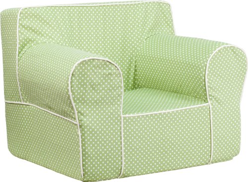 Flash Furniture Oversized Green Dot Kids Chair with White (Green Child Recliner Chair)