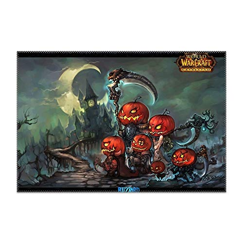 Hodmadod Washable Easy to Clean Holiday Halloween Pumpkin Elf Sword Weapon World of Warcraft Placemat for Kitchen Table Heat-resistand Table Mats 12x18 -