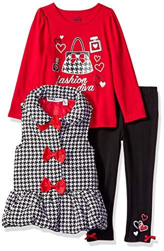 Kids Headquarters Girls' Little 3 Pieces Vest Set, red/Black 6