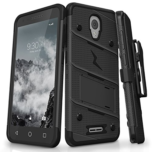 - Zizo Bolt Series Alcatel Verso Case with Holster, Tempered Glass Screen Protector, and 12ft Military Grade Drop Tested - Black/Black