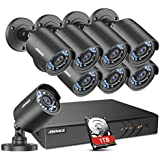 ANNKE Home Security Camera System 8 Channel 1080P Lite DVR with 1TB HDD and (8) HD 1280TVL 720P Outdoor IP66 Weatherproof CCTV Cameras, Smart Playback, Instant email Alert with Images