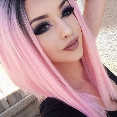 FCHW WIG Sell Well Popular Bob Wig Short Straight Female Wig Synthetic Ombre madam Wig Half Hand Tied Replacement Full Soft Neat Bangs Feminine Wig Black Pink Gradation For Costume Party -
