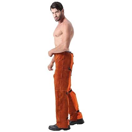 Pantalones de soldadura Soldadura de cuero Pantalones resistentes a la abrasión de la llama Pantalones de