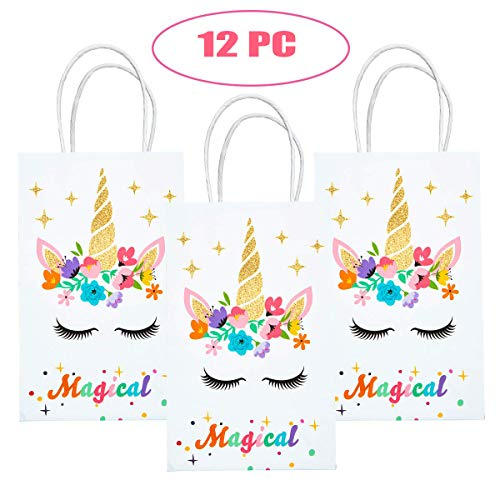 M MISS FANTASY Unicorn Party Bags Unicorn Goodie Bags Gold Glitter Unicorn Treat Bags Unicorn Party Supplies for Girls Paper Gift Bags for Kids Set of 12