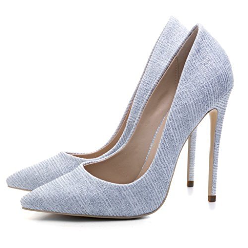 gao Woman's Shallow Pointed Sandals Girl Fashion Single Shoes Banquet Wedding High Heels,Gold,38 Silver