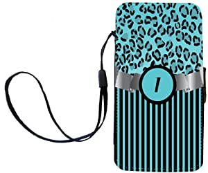 "Rikki Knight™ Letter ""I"" Initial Sky Blue Leopard Print and Stripes Monogrammed PU Leather Wallet Type Flip Case with Magnetic Flap and Wristlet for Apple iPhone 4 & 4s"