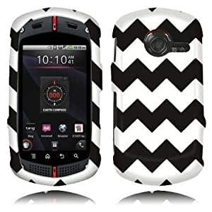 Quaroth NextKin Hard Shell Protective Snap-On Case Cover For Casio GzOne Commando C771, Black/ White Chevron Zig Zag Pattern...