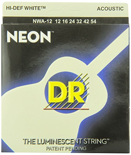 DR Strings NWA-12 DR NEON Acoustic Guitar Strings, Light, Wh