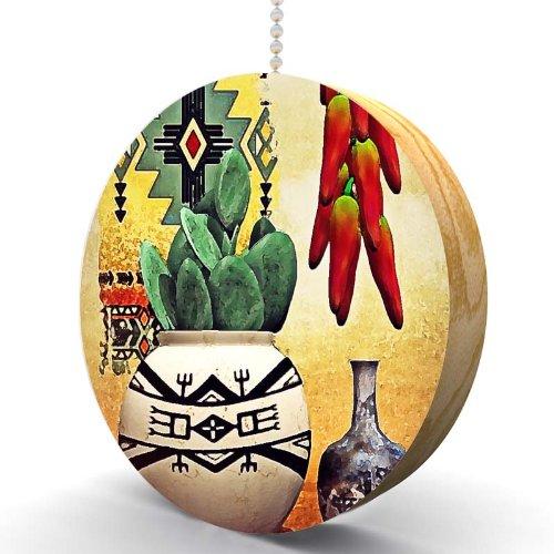 Southwest Chili Peppers and Cactus Hardwood Oak Fan/Light Pull