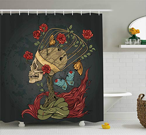 Ambesonne Skull Shower Curtain, Evil Mexican Sugar Skeleton with Kitsch Bush of Roses Snake and Butterfly Artwork, Fabric Bathroom Decor Set with Hooks, 75 Inches Long, Ruby Grey