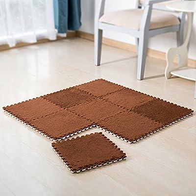 MyGift Foam-Backed Carpet Tiles, Interlocking Floor Cover Mats, Set of 9