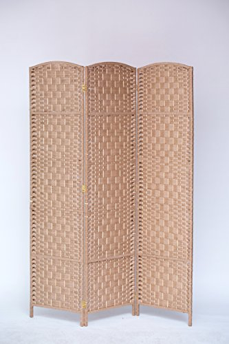 3 Panel Diamond Weave Paper Fiber Room Divider, Natural Color, By Legacy Decor (3 Panel Diamond Room Divider)