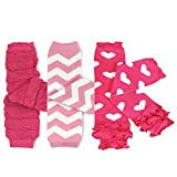 Bowbear Baby 3-Pair Leg Warmers, Pink in Ruched, Chevron, Hearts