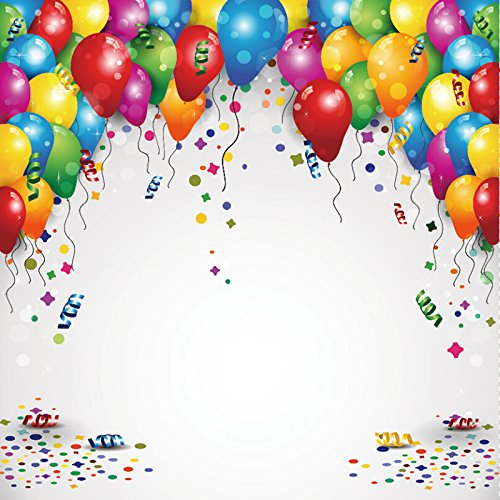 Laeacco Party Backdrops 8x8ft Vinyl Studio Backdrop Customized Photography Background Balloons Confetti Birthday Insert Your Text-Transparency Blending Effects New Year Halloween Game Fan Invitation
