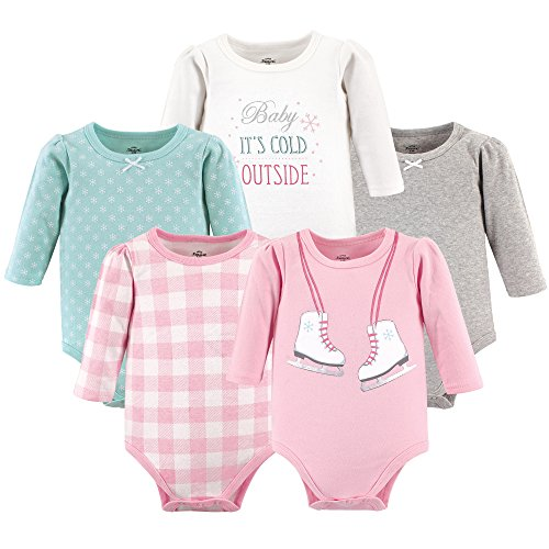 Little Treasure Baby Cotton Bodysuits, ice Skates 5-Pack Long-Sleeve, 0-3 Months (3M) (Baby Skate)