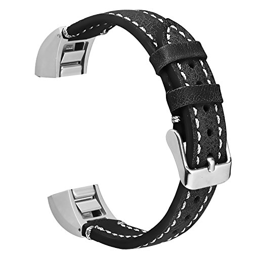 ESeekGo for Fitbit Alta Leather Bands, Genuine Leather Replacement Band for Fitbit Alta HR and Fitbit Alta (No Tracker,Black with White Line)