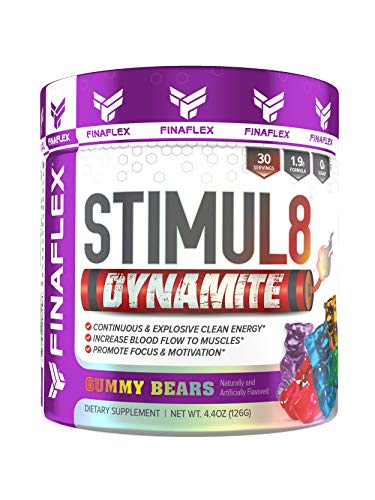Stimul8 DYNAMITE, Explosive Preworkout for Men and Women, Continuous Clean Energy for Hours, Increase Performance, Strength, Pumps, 30 Servings Gummy Bears