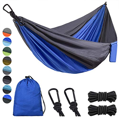 Lifeleads Outdoor Camping Hammock-Nylon Single Portable Parachute Lightweight for Outdoor or Indoor Backpacking Travel Hiking (Navy Bule & Charcoal, Single)