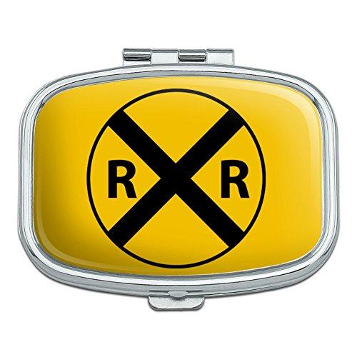 Railroad Crossing Traffic Sign Train Rectangle Pill Case Trinket Gift ()