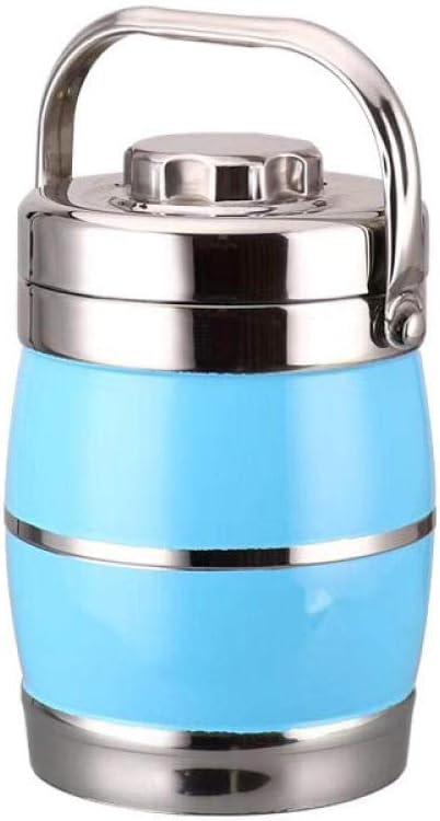 Vaso Isolante Portatile a Doppio Strato.Barilotto di Riso Fresco Rotondo@Blue/_1.6L,Termos per Solidi WENSISTAR Termos Papa Inox,Lunch Box in Acciaio Inossidabile sottovuoto