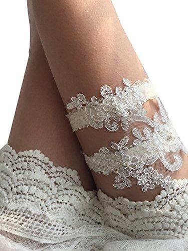 Ivory Bridal Garter Set (YuRong Wedding Garter Set Beaded Lace Garter Set Bridal Lace Garter Wedding Gift G01 (Ivory))