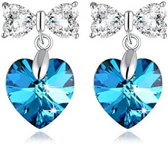 Heart Earring PLATO H 925 Sterling Silver Heart & Butterfly Earrings Set with Swarovski Crystals Woman Stud Earrings Romantic Gift for Her, Ocean Blue/Purple