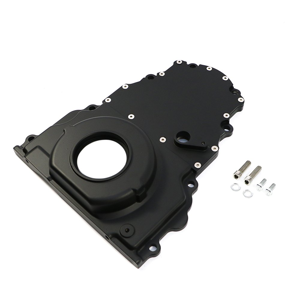 Assault Racing Products A6009PBK GM LS Black 2 Piece Aluminum Timing Chain Cover Kit