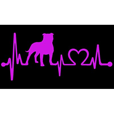 "Bluegrass Decals Pit Bull Non Cropped/Floppy Pitbull Heartbeat Lifeline Monitor Decal Sticker (Light Pink, 7.5""): Automotive"