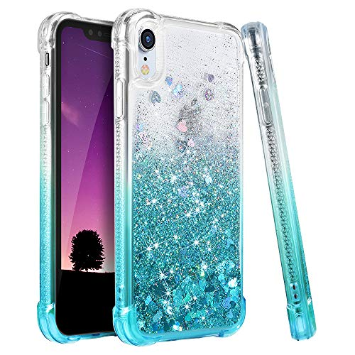 Ruky iPhone XR Case, iPhone XR Glitter Case, Gradient Quicksand Series TPU Bumper Cushion Reinforced Corners Protective Bling Liquid Girls Women Case for iPhone XR 6.1 Inch - Gradient Teal