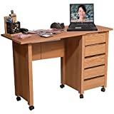 Venture Horizon Hideaway Mobile Desk- Oak