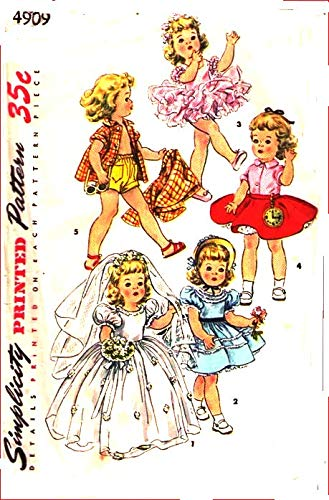 - Simplicity 4909 Toddler Doll Clothes, Made for Toni Walker Doll Vintage Sewing Pattern