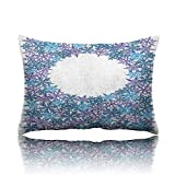 Travel Pillow Snowflake Pattern on White Background with Round Text Space Memory Foam