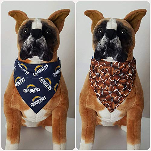Reversible Bandana, Made With Los Angeles Chargers Fabric, California, Football, Scarf, Dog, Cat, Pet, Slip On Over The Collar, (Does Not Tie) 2 in one