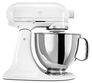 KitchenAid KSM150PSWW Artisan Series 5-Qt. Stand Mixer with Pouring Shield - White On White