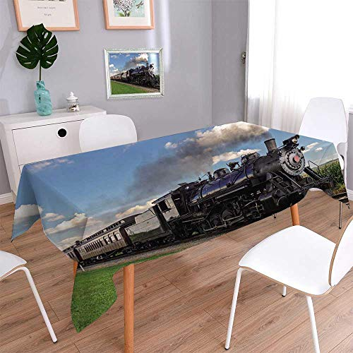 - 1845% cotton, Eco-Friendly and safeSteam Engine Fleece Throw Vintage Black Locomotive in Countryside Landscape Green Grass Puff Train Linen Cotton Tablecloths for Kitchen Room/W54 x L72 Inch