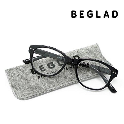 BEGLAD(《비구랏도》) 시니어 글래스 안경 돋보기 세련된 케이스 첨부  BT2014BK 트렌드의 classics 타일 웰링톤형 3색 +1.0~+2.5 블랙