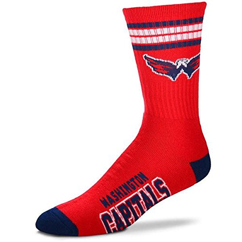 Washington Capitals Mens Socks - For Bare Feet NHL 4 Stripe Deuce Crew Men Socks-Washington Capitals-Medium