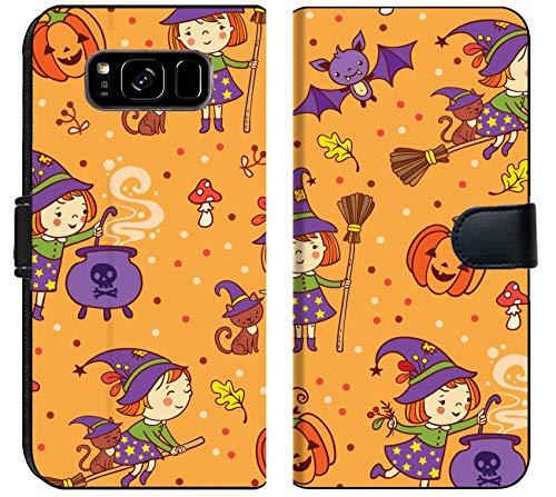 Luxlady Samsung Galaxy S8 Plus Flip Fabric Wallet Case ID: 44896146 Cartoon Halloween Seamless Pattern with Funny Witches Pumpkin cat bat amanita]()