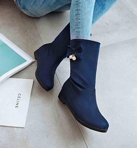 Easemax Womens Elegant Bowknot Round Toe Slip On Mid Hidden Heel Mid Calf Boots Blue MqSWQCb6S3