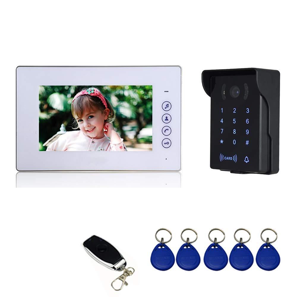 1 Monitor LCD de 7, 1 C/ámara Infrarroja Exterior Impermeable con Visi/ón Nocturna, Abre Puerta con llaveros RFID y Contrase/ña Interfono Intercomunicador Nudito Kit Videoportero con Bot/ón T/áctil