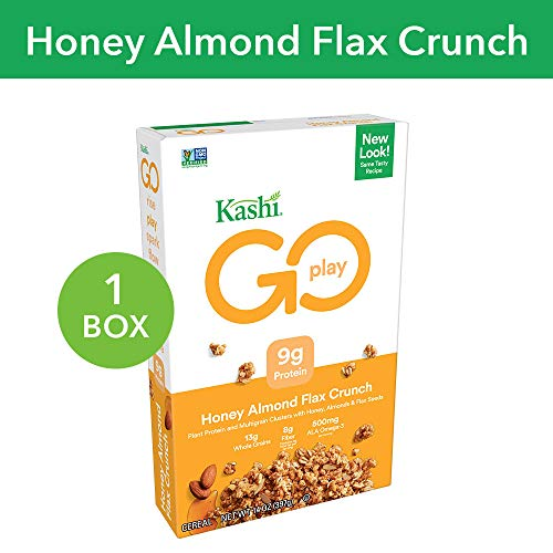 Kashi GO Honey Almond Flax Crunch Breakfast Cereal - Non-GMO | Vegetarian | 14 Oz -