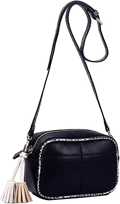 Small Crossbody Bags for Women Purses and Handbags Leather Lightweight Shoulder Bag with Wristlet and Tassel