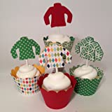Piece of Cake Parties Christmas Cupcake Toppers, Ugly Holiday Sweater Collection, Set of 12