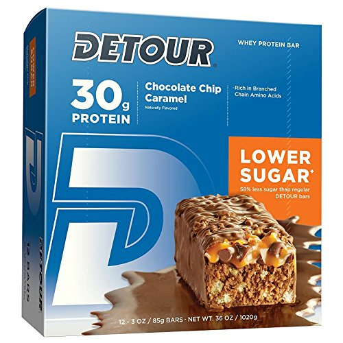 Detour Lower Sugar Whey Protein Bar, Chocolate Chip Caramel, 3 Ounce, Pack of 12 (Caramel Chocolate Chips)
