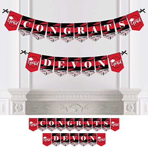 Personalized Red Grad - Best is Yet to Come - Custom Red 2019 Graduation Party Bunting Banner & Decorations - Congrats Custom Name Banner ()