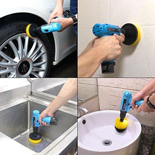 Drill Brush Attachment Kits, 3 Pieces Cleaning Power Scrubber Brush Heads for Cordless/Corded Drills, All Purpose Bathroom Surface, Grout, Tub, Shower, Kitchen, Drill Is Not Included (Medium-Yellow) by HENGQIANG (Image #5)