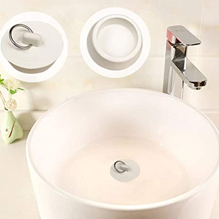 8 Pieces 4 Sizes Rubber Sink Stopper Plug Set Drain Stopper Plug with Hanging Ring Use for Kitchen Bathroom Bathtub White lasenersm